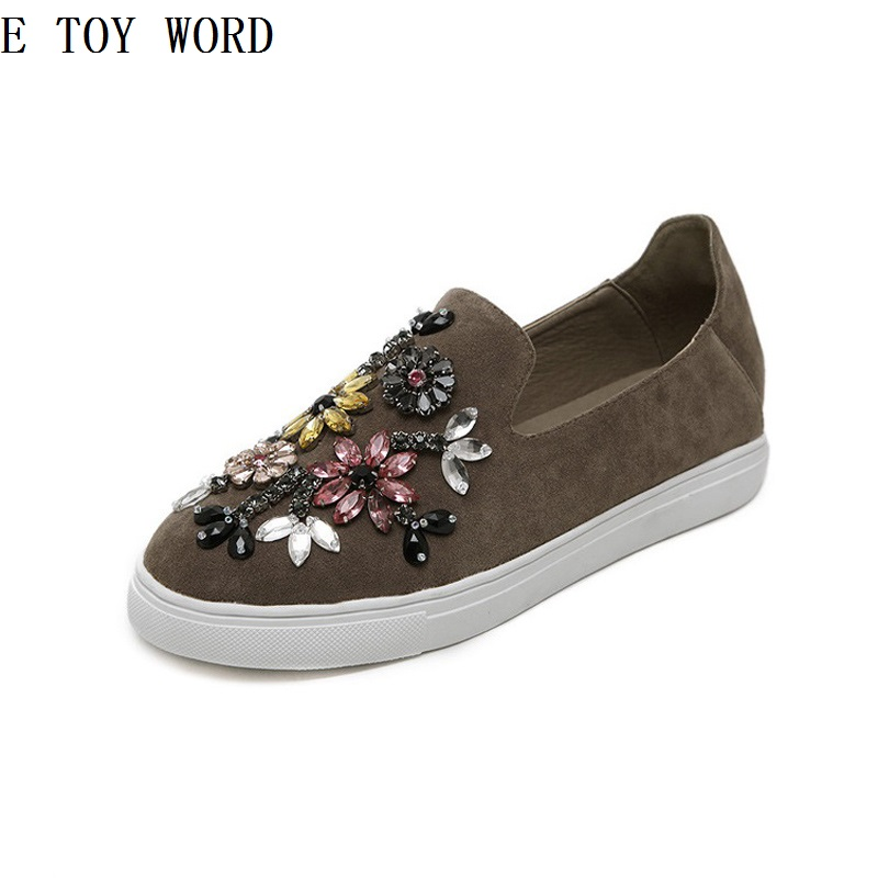 ETOYWORD The new 2018 leisure totem diamond with comfortable flat single shoes lazy loafers flat shoes
