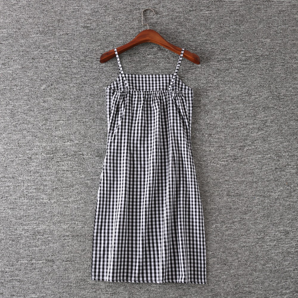 0b6abed59de Aliexpress.com   Buy Women Black and White Plaid Spaghetti Strap Dress  Gingham Print Cami Dress from Reliable cami dress suppliers on Shanghai  lanhan ...