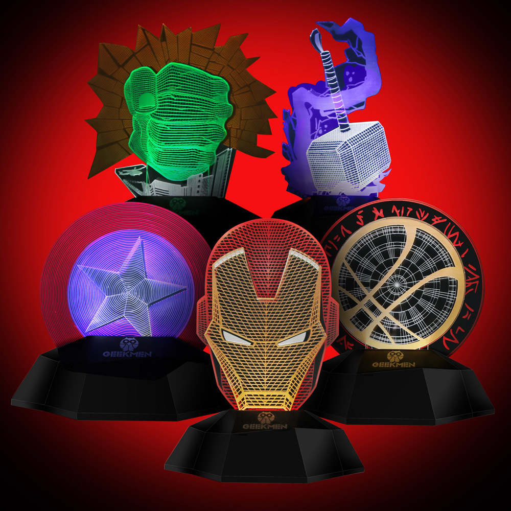 Marvel avengers LED Night light 3D Acrylic Desk lamp Iron Man Mask Table lamps bedroom bedside light children gift USB Charging 3d led usb wooden night table lamp desk light modern luminaria de mesa acrylic kid bedroom bulbing creative gift abajur 110 240v