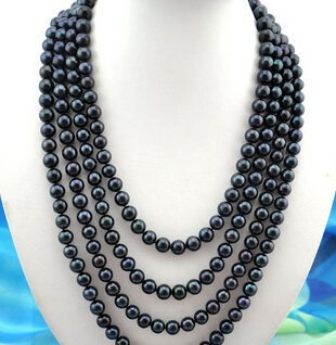 FREE SHIPPING>>>@@ AS4902 100 9-10mm round black freshwater pearl necklaceFREE SHIPPING>>>@@ AS4902 100 9-10mm round black freshwater pearl necklace
