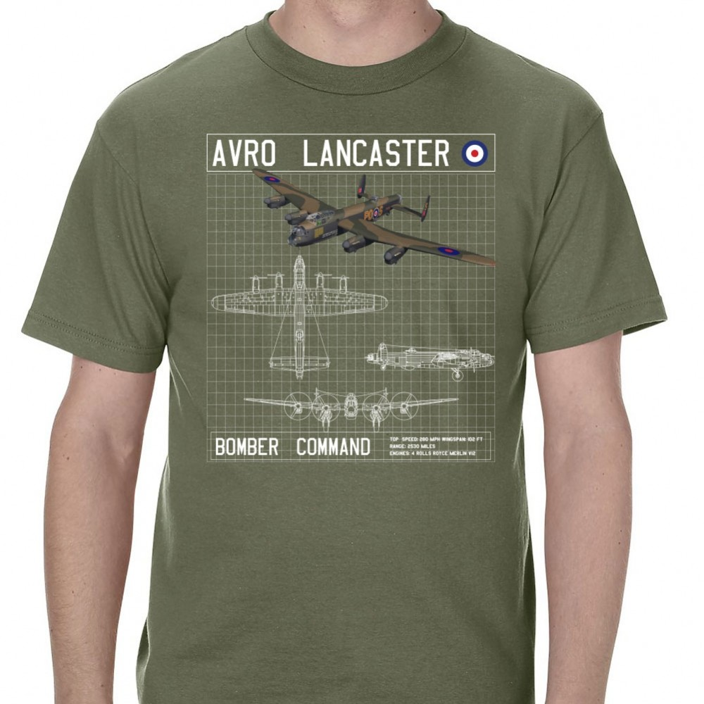 Objective Avro-lanacster-bomber-schematic-mens-militray-green-t-shirt The Hottest T-shirt In The World Icon Emoji Fashion Design T-shirt To Win A High Admiration And Is Widely Trusted At Home And Abroad. T-shirts
