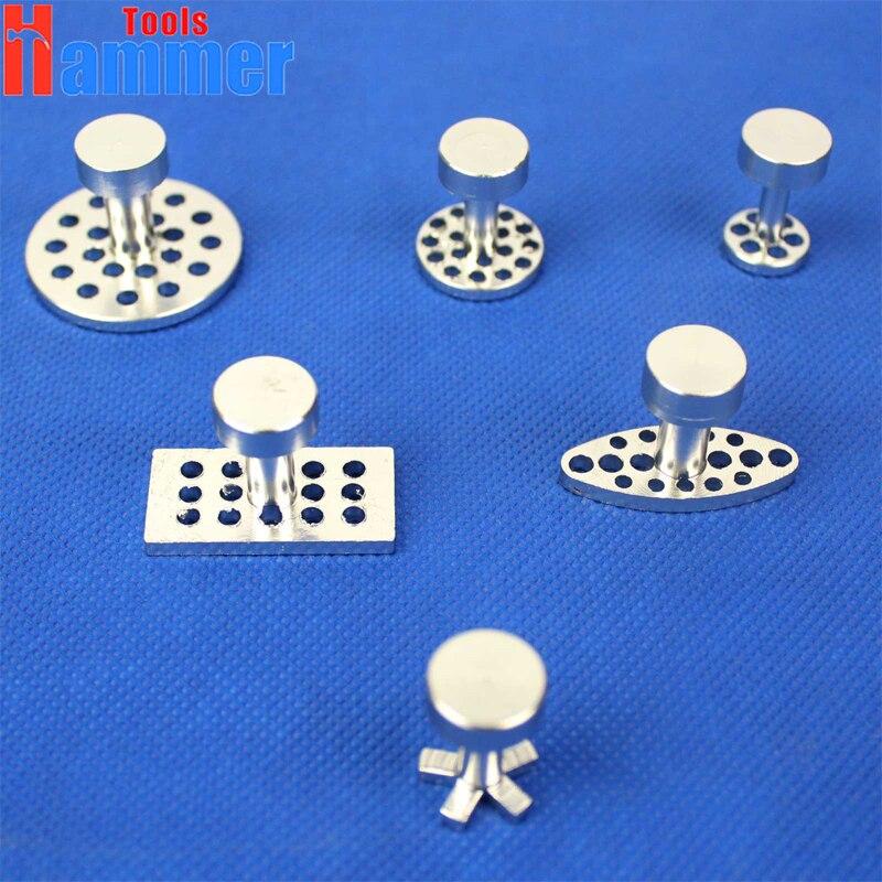 6pcs Aluminum Glue Puller Tabs Pad Paintless Dent Repair Tools Hail Removal