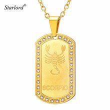 c664b52fc84c Starlord signo del zodiaco Escorpio encanto y Collar para hombres Joyería  de las mujeres de diamantes de imitación de oro Etique.