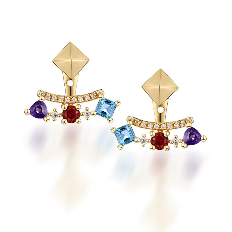 ANI 925 Sterling Silver Women Garnet Drop Earrings Natural Topaz Color Gemstone Fine Jewelry Engagement Earrings for Female pair of sweet candy color gemstone embellished earrings for women