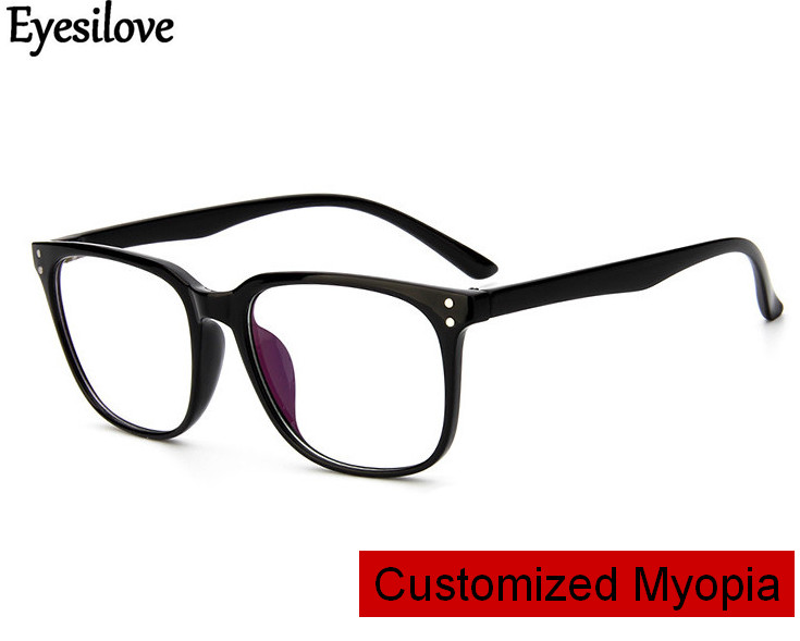 Eyesilove customized myopia glasses for men women large frame prescription glasses near-sighted mopia eyeglasses single vision(China)