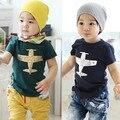 Varejo bebé novo aviões t-shirt crianças verão Tops Tees de algodão aeronave 100% criança dos desenhos animados T camisa frete grátis