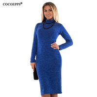 COCOEPPS 5XL 6XL Large Size 2017 Autumn Winter Women Dresses Big Size Casual Long Sleeve Dress