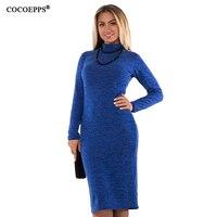 COCOEPPS 5XL 6XL Large Size 2017 Autumn Winter Women Dresses Big Size Casual Long Sleeve Dress