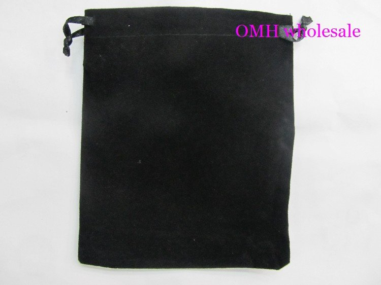 OMH 10pcs 7×9 10x12cm black silk cloth flannelette Suede Jewlery Velvet packing  scald Golden Pouch  Christmas Gift bags BZ05