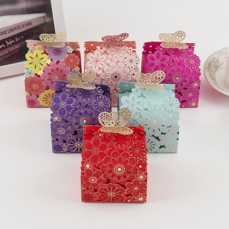 10Pcs Paper Candy Box Hollow Butterfly DeSIGN European Style Gift Boxes Wedding Favors Cute Personality Chocolate Box