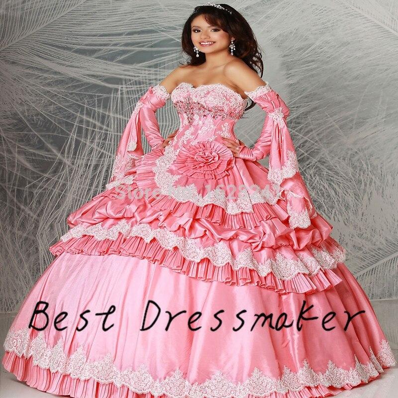 Super Lindo Vestidos Rosa vestidos de 15 Anos Masquerade Quinceanera ...