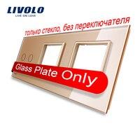 Free Shipping Livolo Golden Pearl Crystal Glass 223mm 80mm EU Standard 2Gang 2 Frame Glass Panel