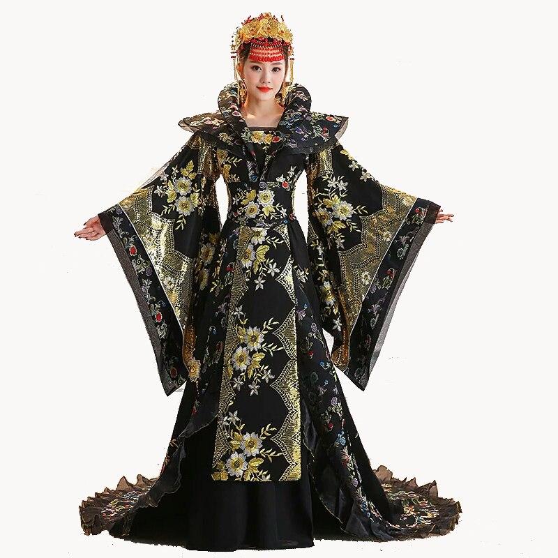 Haute qualité Designer chinois ancien Tang dynastie reine Tailing Costume Guzheng montrer des vêtements femmes Hanfu chinois photographie
