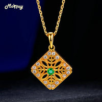 MoBuy Natural Emerald Party Necklaces & Pendants Fine Jewelry 925 Sterling Silver 14K Yellow Gold Plated For Women MBNI056