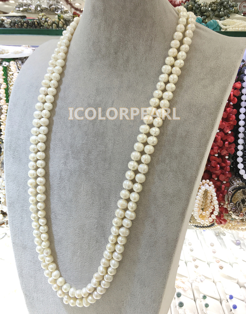 170cm  9-10mm Potato Shaped White Real Natural Freshwater Pearl Jewelry Sweater Necklace.