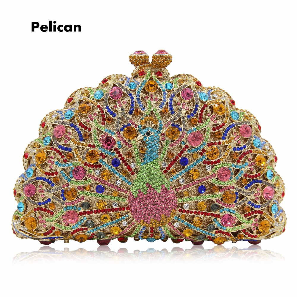 Luxury Crystal Evening Bag Peacock Clutch diamond party purse pochette soiree Ladies Women handbag wedding clutches bag yu19 1 crystal evening bag clutch peacock diamond pochette soiree women evening handbag wedding party purse clutch bag