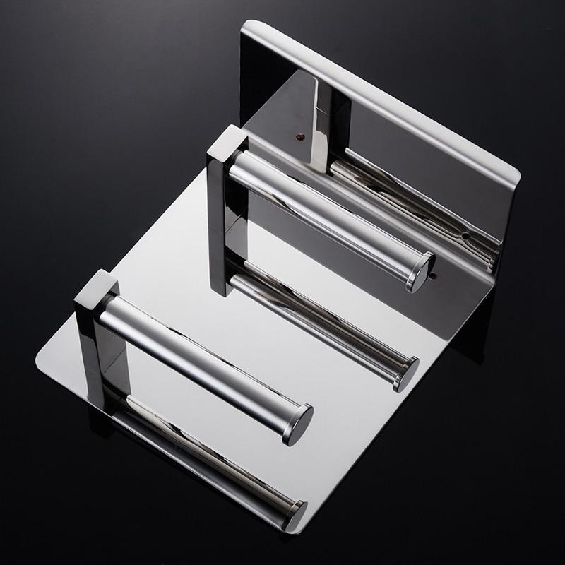Купить с кэшбэком WEYUU  Toilet Paper Holders SUS304 Stainless steel Double-deck  Roll Rack Bathroom Shelves Bathroom Accessories  Chrome Finish