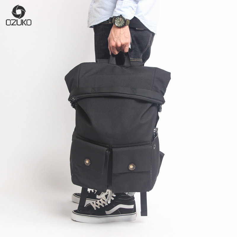 OZUKO Brand fashion bag travel bag casual notebook backpack unisex canvas backpack High Quality men's large capacity backpack edgy trendy casual canvas backpack men large capacity simple backpack fashion hook buckle travel bag durable rucksack