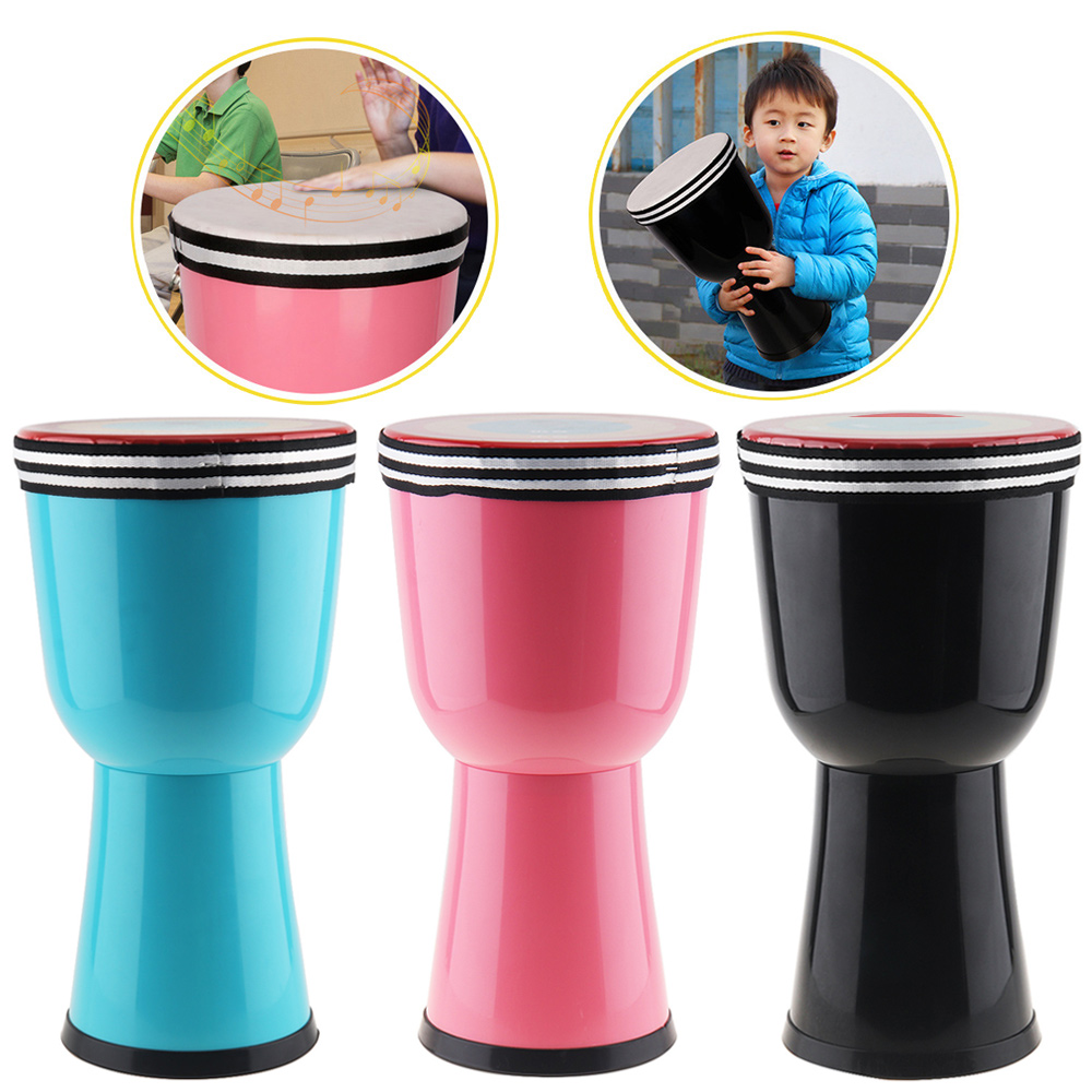 8 pouces africain djembé tambour coloré ABS baril PVC peau légère conception enfants main tambour 3 couleurs en option
