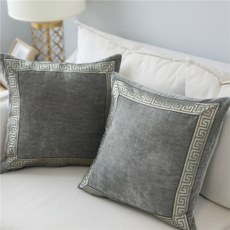 >Soft Velvet Grey Cushion Cover <font><b>Home</b></font> Decor Blue Embroidered <font><b>Pillow</b></font> <font><b>Case</b></font> Sofa Decorative <font><b>Pillows</b></font> 45*45/60*60cm Throw <font><b>Pillow</b></font> Cover