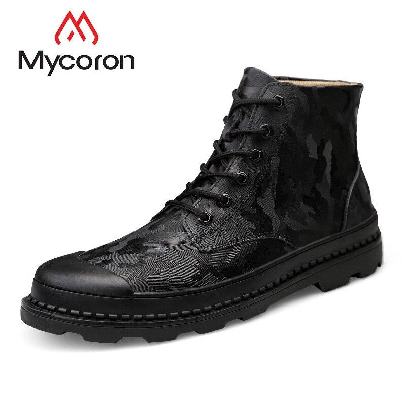MYCORON 2018 Mode Hommes Bottes Marque Printemps/Automne Martin Bottes À La Main Britannique Hommes Chaussures Hommes Court Cheville Bottes Erkek bot