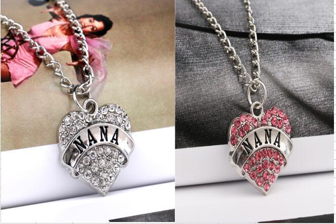Fashion Elegant NANA Heart Women Lady Family Member Jewelry Necklace Pendant Pink NaNa Charm Silver Tone Crystal Rhinestone