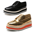 Men PU Height Shoes Brand Party Wedge Heel Brushed Leather Laced Shoe Perforated Wingtip Toe Rubber Sawtooth Sole Office Fat New