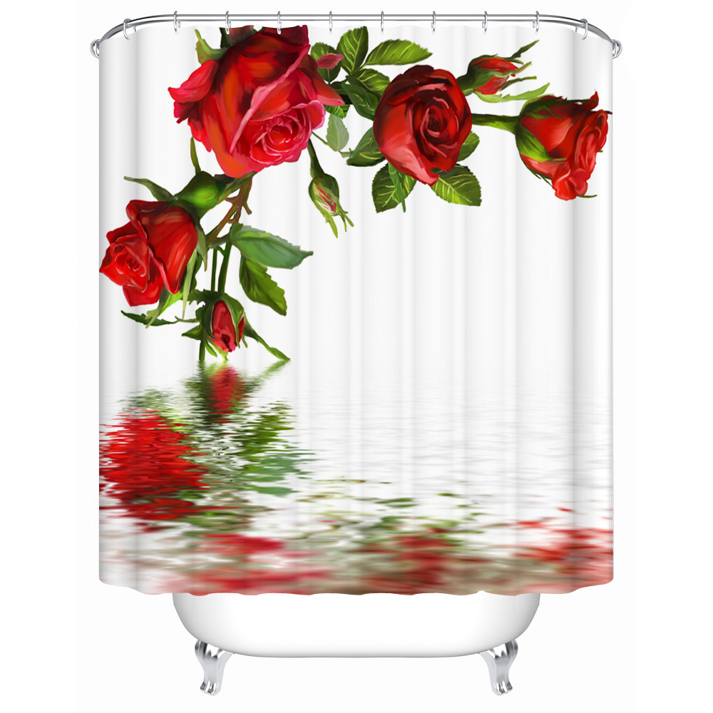 Waterproof Bathroom Shower Curtain Open Red Rose In The Water Shower  Curtains Eco Friendly Furniture