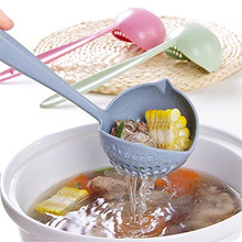2 in 1 Creative Wheat Straw Soup Spoon Long Handle Lovely Porridge Spoons with Filter Dinnerware Kitchen Colander Tools YL899263