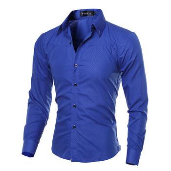 2019 Casual męskie koszule moda Plaid koszula z długim rękawem dla mężczyzn sukienka społecznej koszula rozmiar M-5XL tanie i dobre opinie Tuxedo koszule COTTON Pełna Plac collar Smart Casual Suknem REGULAR Pojedyncze piersi Devin Du Collar type Sleeve length