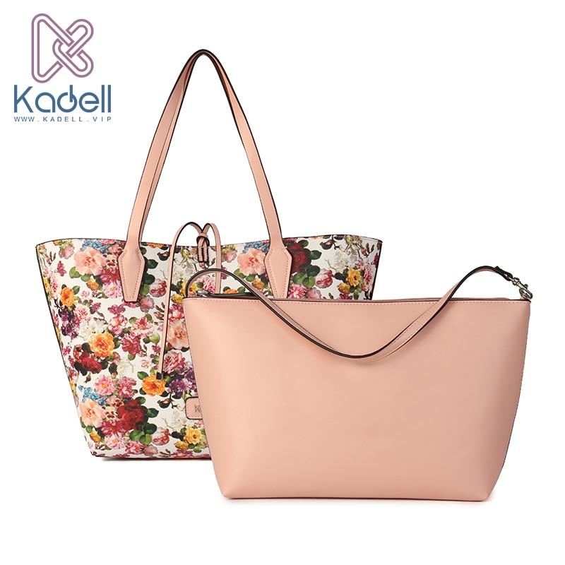 Kadell Brand 2Pcs/Sets Fresh Flower PU Leather Women Shoulder Bags High Capacity Tote Vintage Elegant Bag Handbag Bolsa Feminina