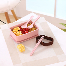 Portable Bamboo Fiber Bento Box Lunch With Tableware Health Safety 600ML Microwaveable Food Leak-Proof Container