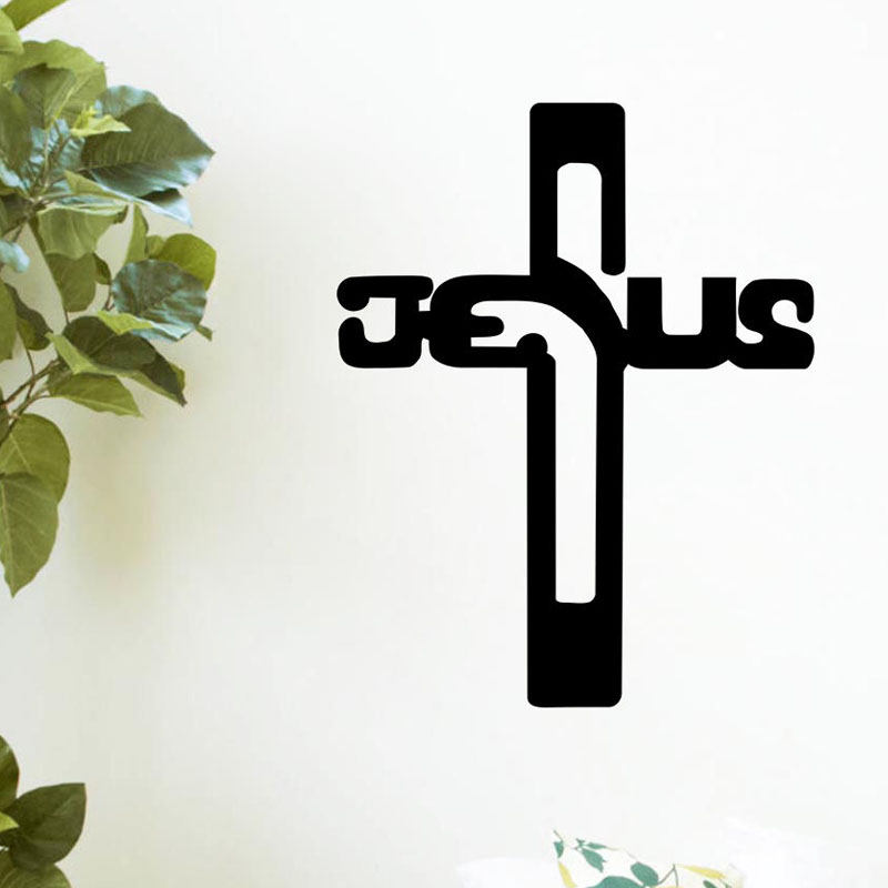 Believer home decor christian jesus cross wall mural for Acheter crucifix mural