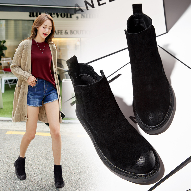 Autumn and winter new round head boots Europe and the United States suede leather casual boots low europe and the united states women s new winter 2016 worn out show thin butterfly sequins loose nine points straight jeans
