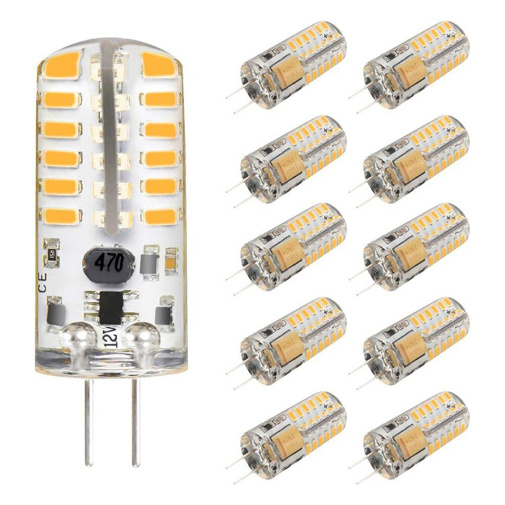G4 LED Bulb AC DC 12V 3W Mini LED Light Bulb 48 LEDs SMD 3014 20W Halogen Bulb Equivalent Silicone Coated Shatterproof Lamp