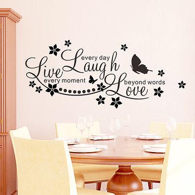 Live Laugh Love Wall Sticker Vinyl Butterflies Flower Kids Room Decal Quote  Art Decal DIY Cartoon Mural  In Wall Stickers From Home U0026 Garden On ... Part 70