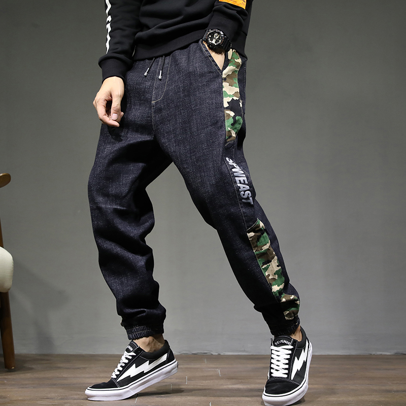 Men Clothes 2018 Camouflage Collage Hip Hop Jeans Modis Jean Homme Japanese Streetwear Black Jeans Uomo Pants Denim Jogger Male