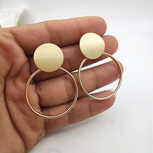 2019 Fashion Jewelry Irregular Geometric Earrings Hanging Round Metal Pendant Gold Silver Large W620