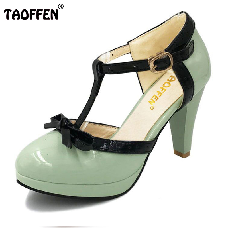 TAOFFEN Size 32-48 Women High Heel Sandals Round Toe Heels Shoes Women's Platform Sandals Black bow Wedding Party Lady Footwears
