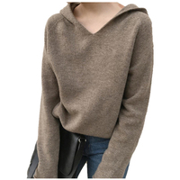 MVLYFLRT Spring and Autumn New Women's V neck Wool Knit Sweater Women's Loose Pullover Sweater with Cap Bottoming Sweater Jacket