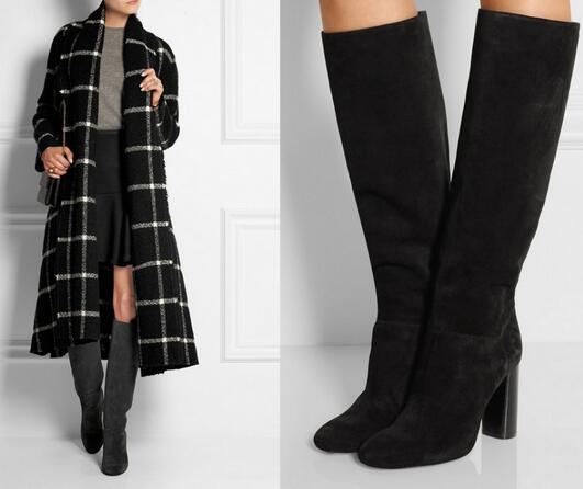 Модные женские замшевые зимние сапоги до колена на массивном каблуке черного и серого цвета, женские высокие сапоги с круглым носком на тол