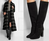 Fashion Women Black Grey Suede Chunky Heel Knee High Winter Boots Round Toe Thick Heel Women Long Boots High Quality