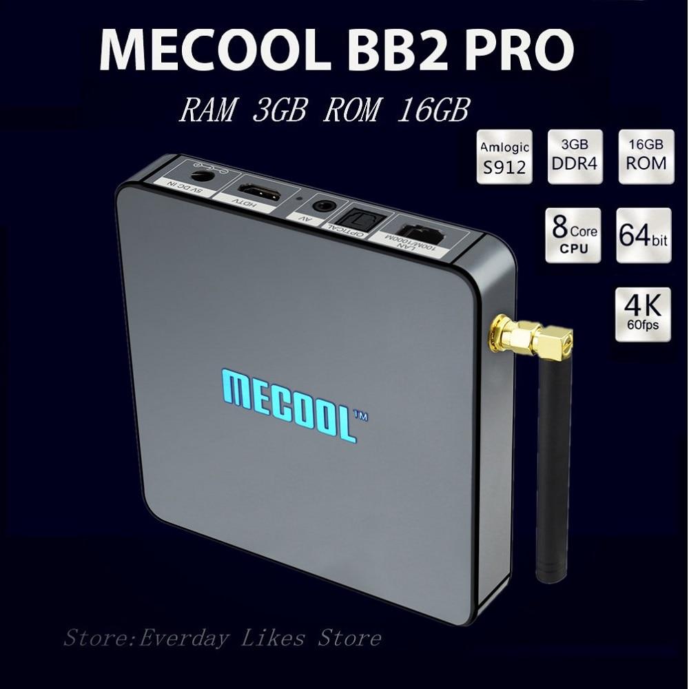 ФОТО Original MECOOL BB2 PRO Android 6.0 RAM 3GB ROM 16GB Smart TV Box Amlogic S912 64 bit Octa core BT 4.0 Streaming Set-top Boxes