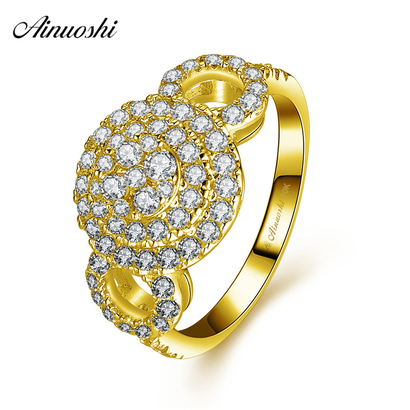 AINUOSHI 10k Solid Yellow Gold Double Halo Ring Woman Wedding Engagement Jewelry Luxurious Bridal Band Queen Crown Hollowed RingAINUOSHI 10k Solid Yellow Gold Double Halo Ring Woman Wedding Engagement Jewelry Luxurious Bridal Band Queen Crown Hollowed Ring