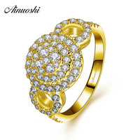 AINUOSHI 10k Solid Yellow Gold Double Halo Ring Woman Wedding Engagement Jewelry Luxurious Bridal Band Queen Crown Hollowed Ring