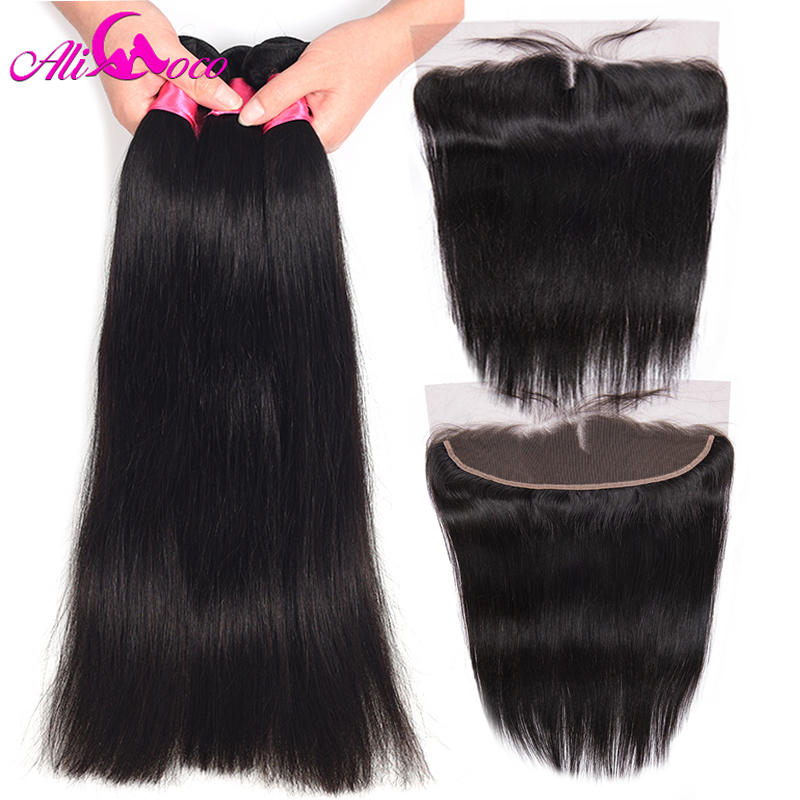 Ali Coco Peruvian Straight Hair 3 Bundles With Frontal Human Hair Bundle and 13x 4 Lace