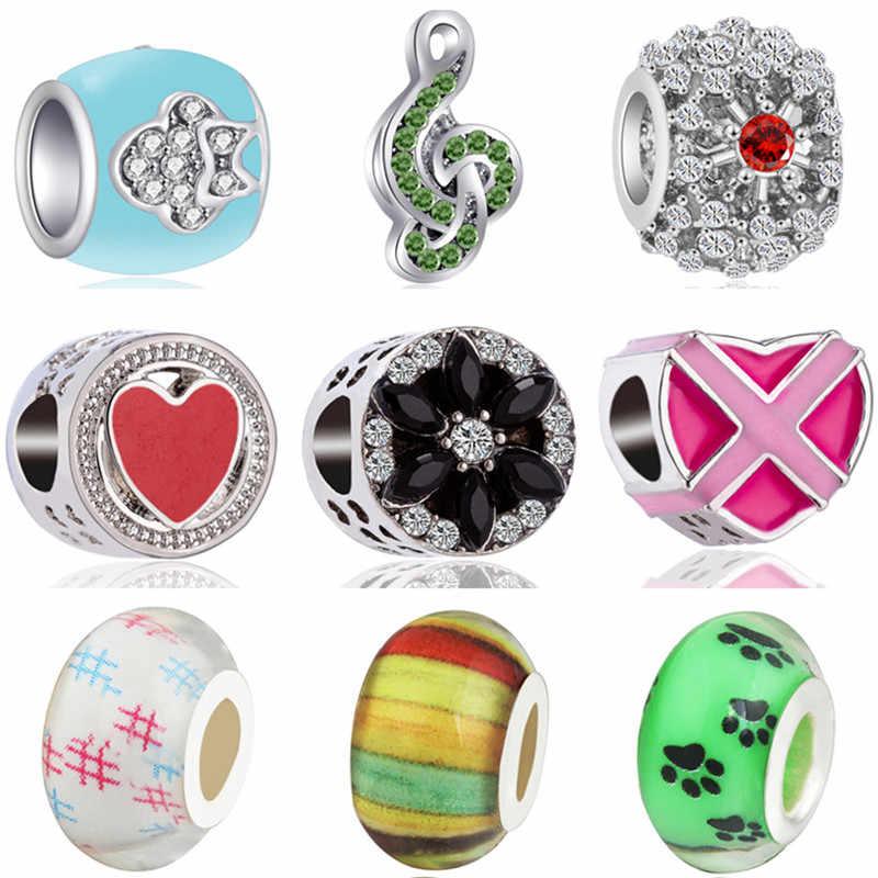 Cuentas coloridas DIY para bebés con alas de árbol de coco y hojas, abalorios musicales compatibles con pulseras Pandora, brazaletes para mujeres, Día de San Valentín