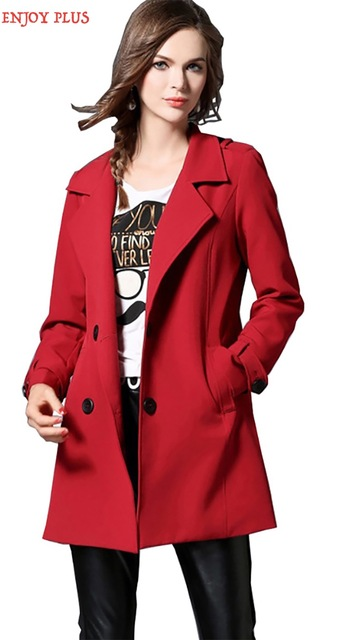 ENJOY PLUS 8%OFF chest 100-120cm new winter autumn 2016 black basic long trench coat women big size for feminino elegant XL- 5XL