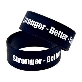 OBH 25pcs 1 Inch Wide Black 24 Hour Fit Stronger Better and Together Fitness Silicone Bracelet