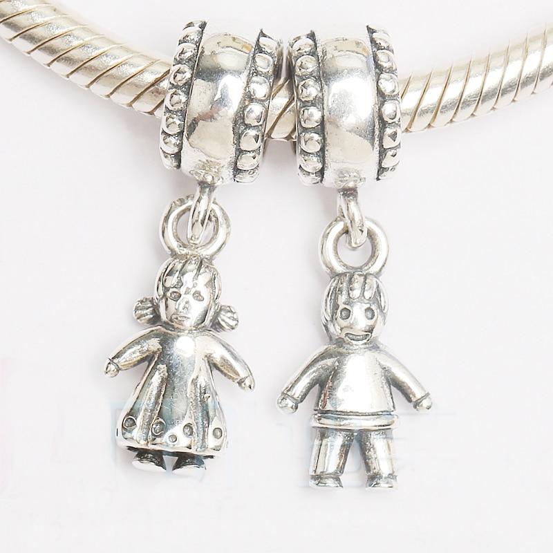 Prix pour Authentique 925 Perles En Argent Sterling Charme Garçon et Fille Perles Fit Femmes Bracelet et Bracelet Collier DIY Bijoux